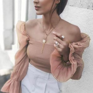 Bohemian Top with Bare Shoulders