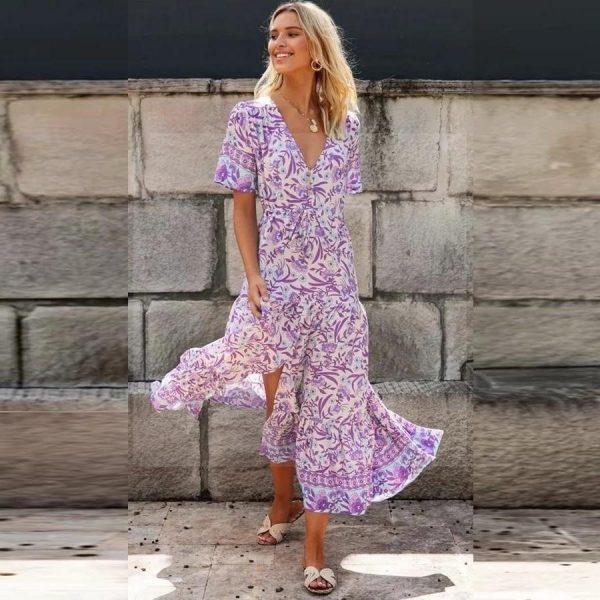 Bohemian long dress in cotton voile